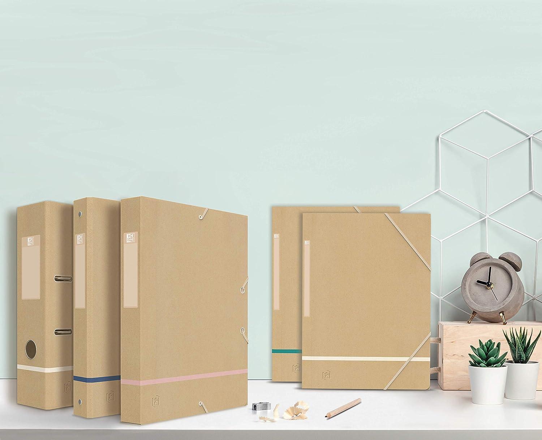 lomo 25 mm con goma el/ástica Oxford Touareg color kraft y blanco esmerilado 24 x 32 cm cubierta de tarjeta reciclada Caja de clasificaci/ón