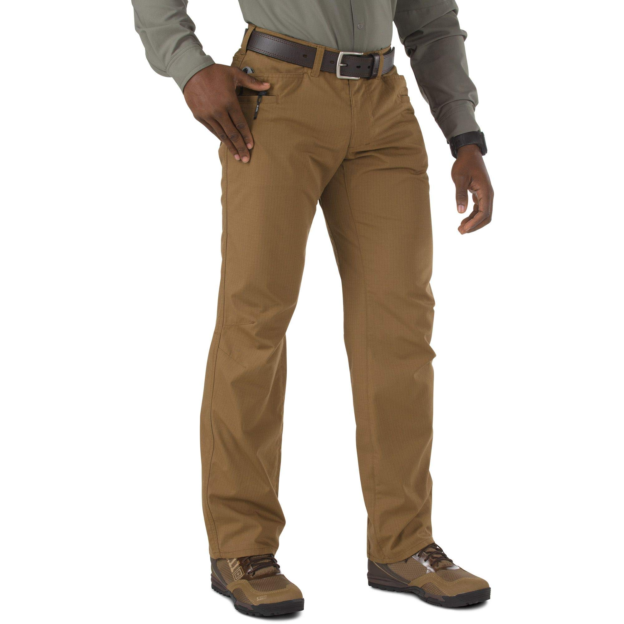 5.11 Tactical Men's Ridgeline Covert Work Pants, Teflon Finish, Poly-Cotton Ripstop Fabric, Battle Brown, Style 74411 by 5.11