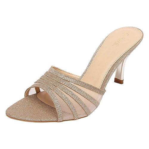 7b855eac0 Catwalk Golden Leather Slip-on Heeled Sandals for Women s  Buy ...