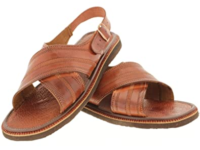 5ffac3bf44f1 Men s 005 Rustic Cognac All Real Leather Mexican Buckle Huaraches Open Toe  13