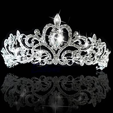 Image Unavailable. Image not available for. Color  Wedding Bridal Crystal  Tiara Crowns Princess Queen Pageant Prom Austrian Stunning Rhinestone ... b14cb8395ef7
