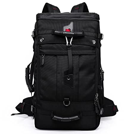 KAKA Backpack Travel Hiking Large Size 50L Outdoor Hiking Carry on Climbing Bag Black Camping Knapsack 2070