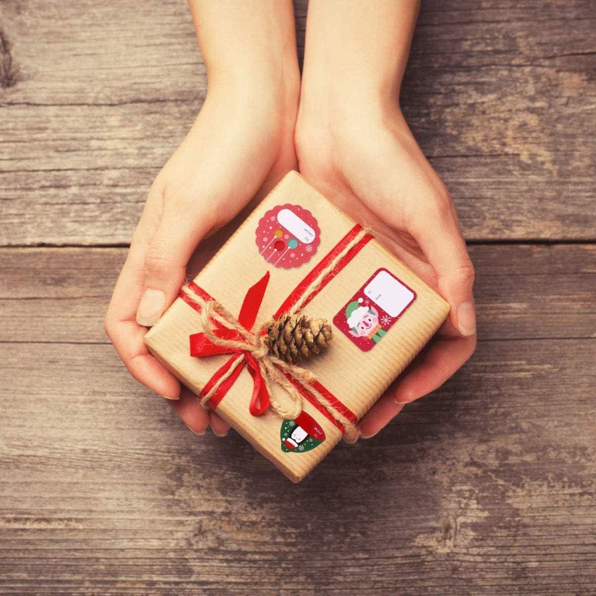 Etichette Regalo Decorative per Compleanno Natale pacchi Regalo MQIAN 216pz Etichette Adesive Natale per Regali 24 Fogli Chiudipacco Adesivi Natale Etichette Adesivi Scrapbooking