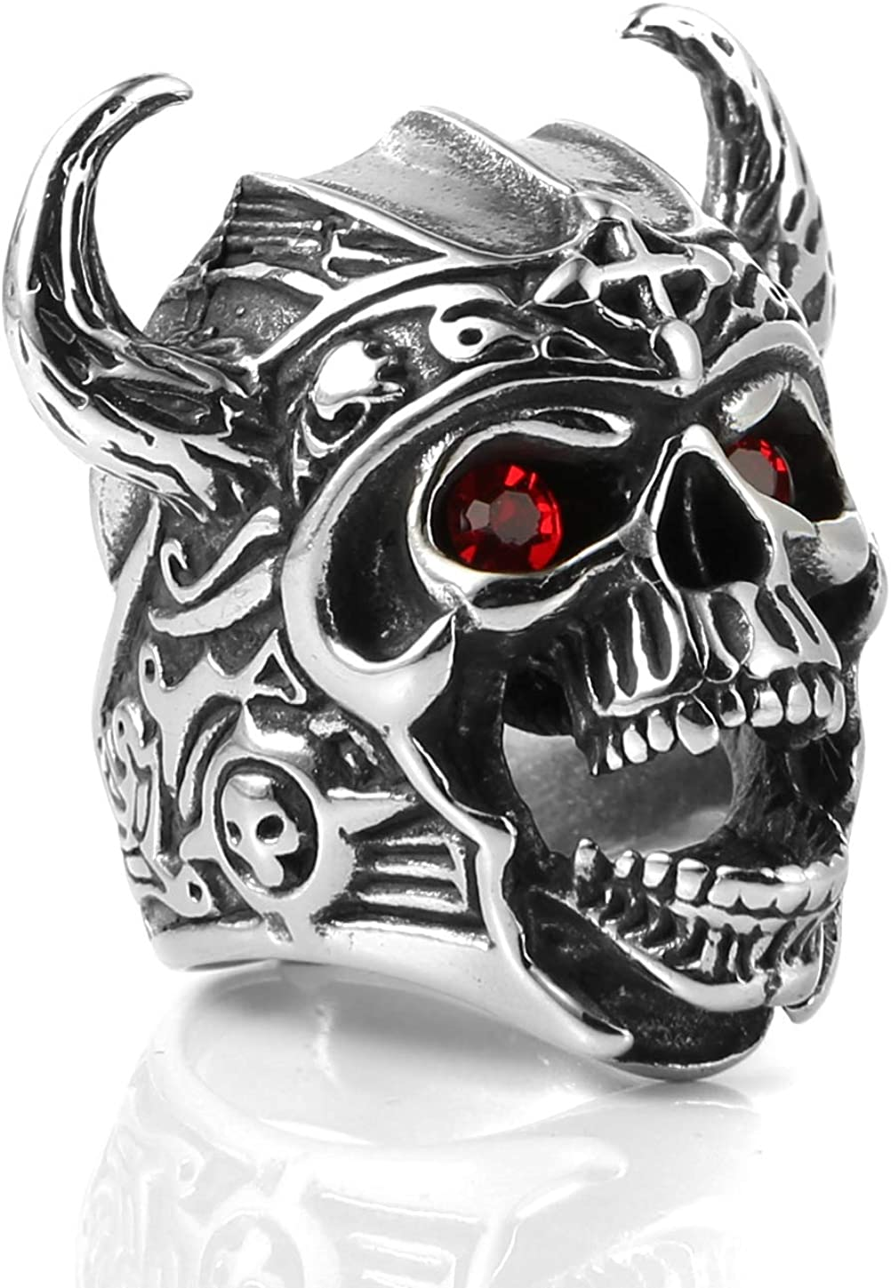 HZMAN Men's Stainless Steel Ruby Eyes Skull Cross Ring Knights Templar Helmet Warrior Ring