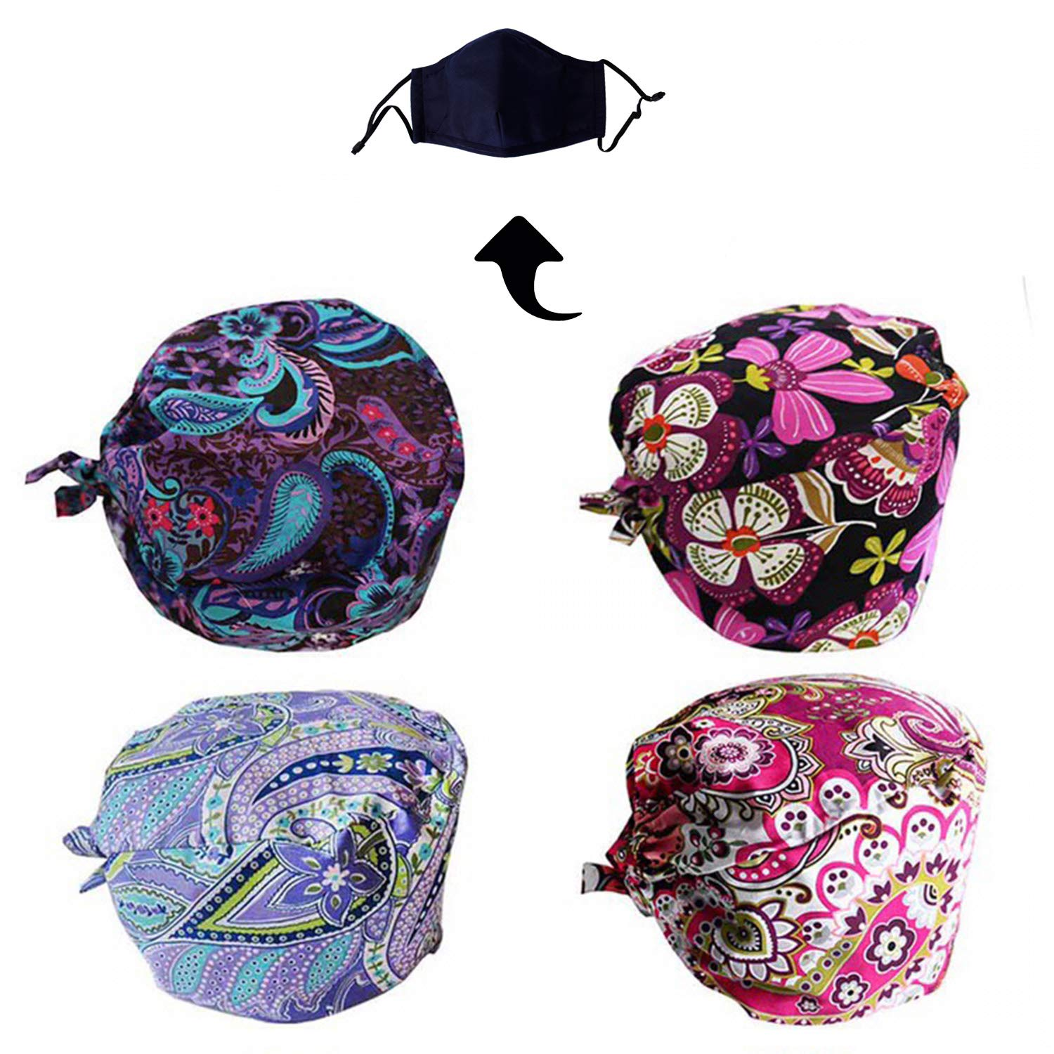 JoyRing 4 Pack Unisex Adjustable Surgical Hat Scrub Cap with Sweatband for Ponytail and Free Reusable Cotton Mask, One Size Fit Most by JoyRing