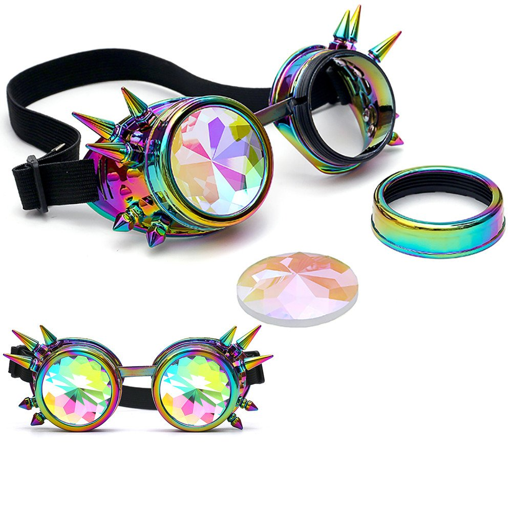 with Rivets Naladoo Kaleidoscope Fantacy Colorful Glasses Rave Festival Party EDM Portable Sunglasses Diffracted Lens