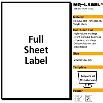 mr label clear full letter sheet removable adhesive labels transparent tear resistant waterproof