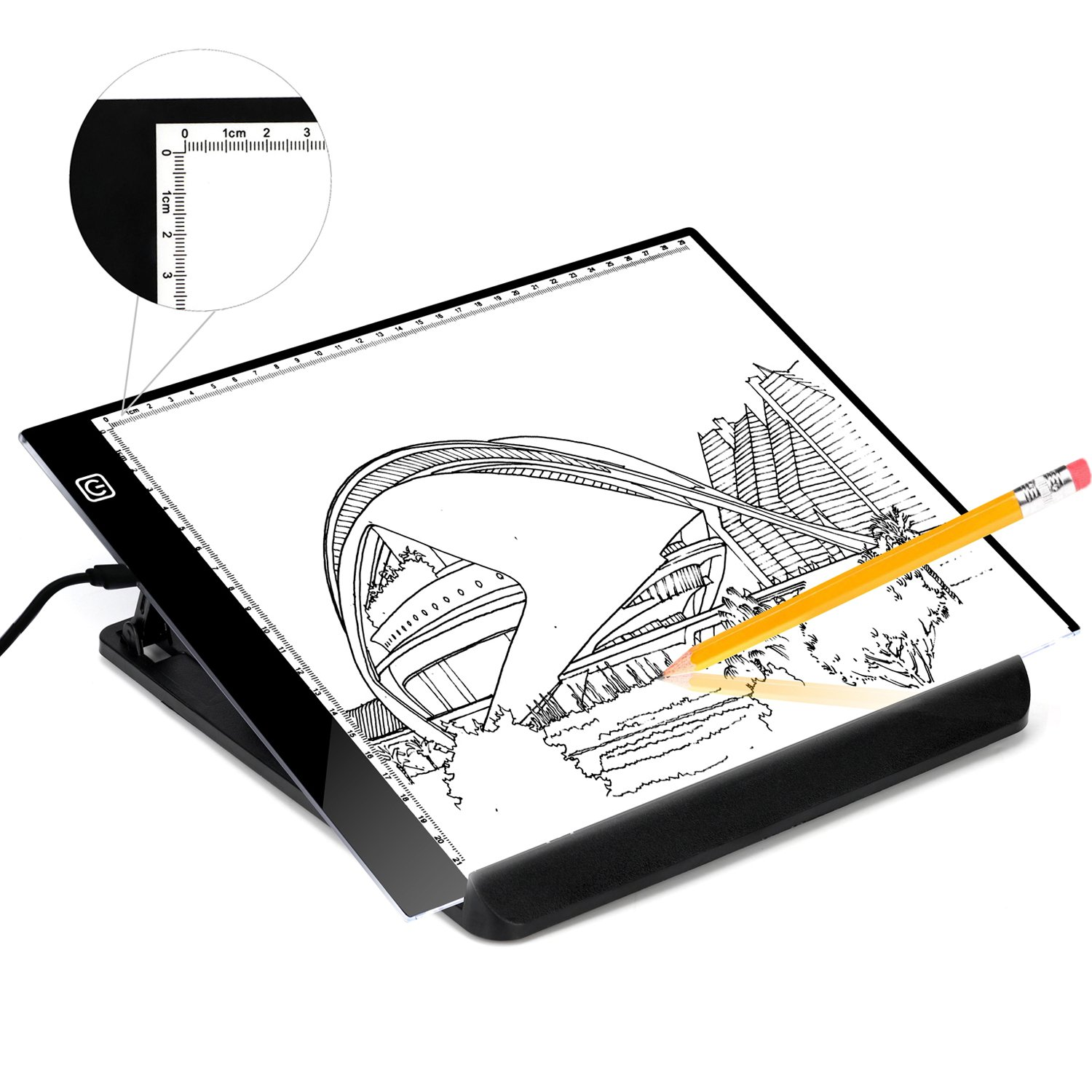 A4 Ultra Light Travel Board for Artist Drawing Sketching Animation X-Ray Viewing Quilting Tattoo Sewing, Portable LED Tracing Light Board Pad Brightness Control with USB Power Cable, Great for Kids