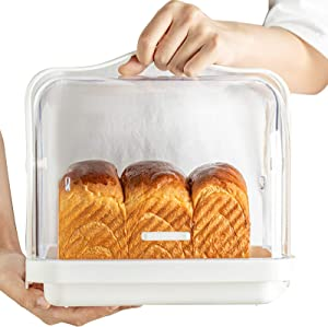 Plastic Food Storage Box Snack Container Bread Loaf Box Carrier for Home Kitchen Waterproof Dustproof White