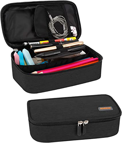 Estuche para lápices, estuche para bolígrafos de gran capacidad RAGZAN Funda para bolsa Organizador de escritorio con cremallera para útiles escolares y de oficina (negro): Amazon.es: Oficina y papelería