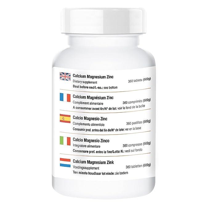 Calcio Magnesio Zinc - ¡multiminerales para 3 MESES!- 360 tabletas - fabricado en Alemania: Amazon.es: Salud y cuidado personal