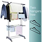 3 Tier Rolling Clothes Drying Rack Clothes Garment Rack Laundry Rack with Foldable Wings Shape Indoor/Outdoor Standing rack Stainless Steel Hanging Rods - Gray & Electroplate by Mogi's