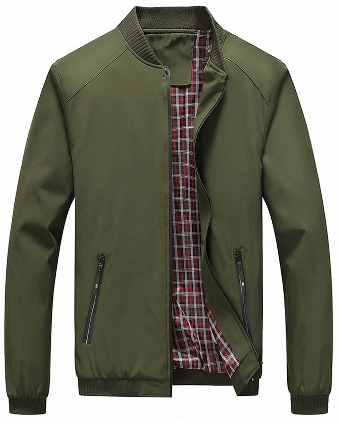 Tanming Men's Color Block Slim Casual Thin Lightweight Bomber Jacket (Large, Army Green-169) by Tanming