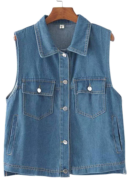 13f53e4c89b Flygo Women s Basic Buttoned Up Sleeveless Denim Vest Jacket at Amazon  Women s Coats Shop