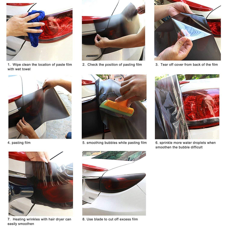 Auto-adh/ésif imperm/éable vinyle phare Film de teinte phares feux de brouillard Teinte film feux arri/ère 30cmx120cm