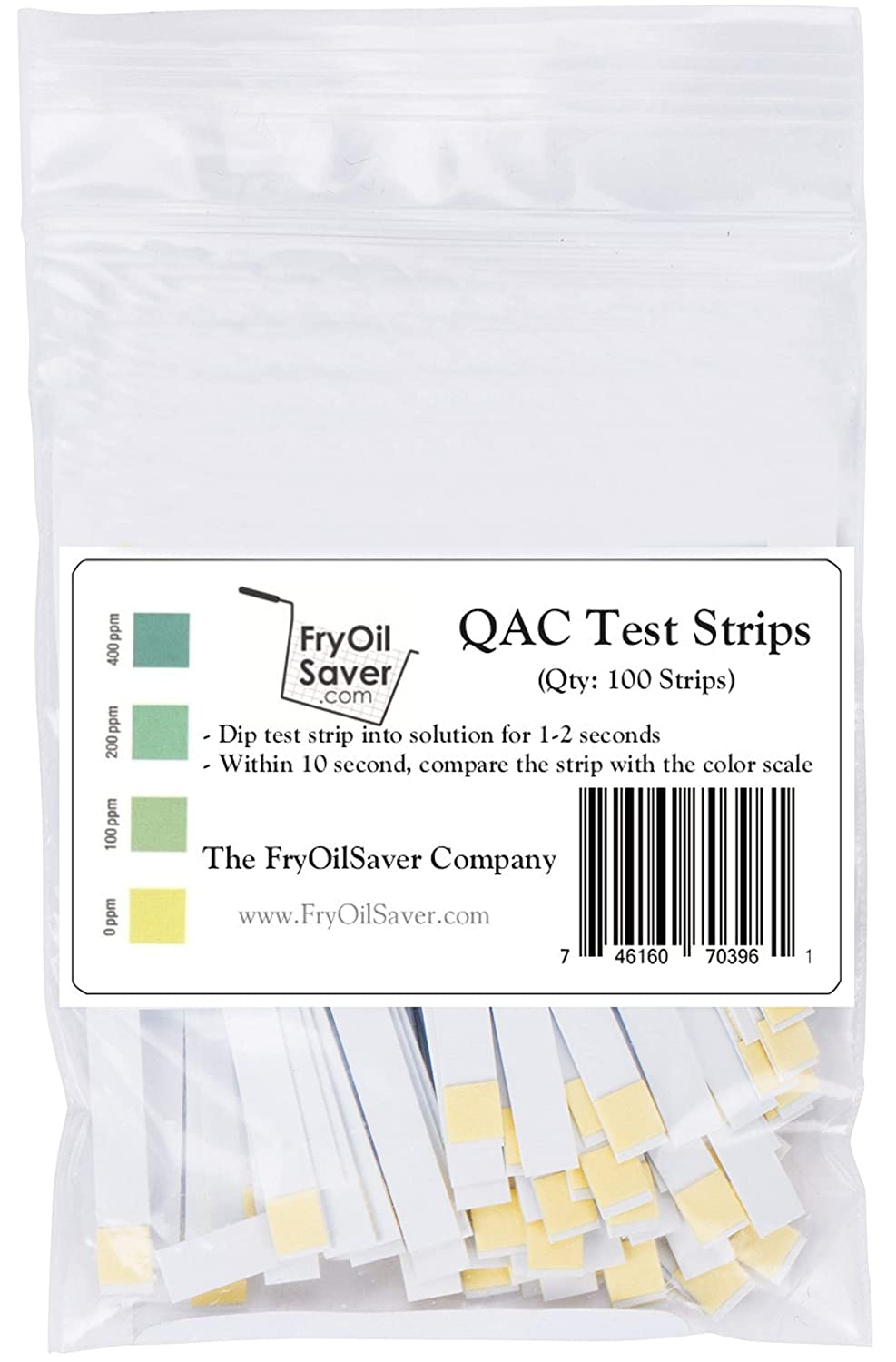 FryOilSaver, QAC Test Strips, Restaurant Quaternary Ammonium Sanitizer Test Strips, 0-400 ppm, Multi Quat Strips for Food Service, Quaternary Ammonia Sanitizer Strips, FMP 142-1363, Pack of 100