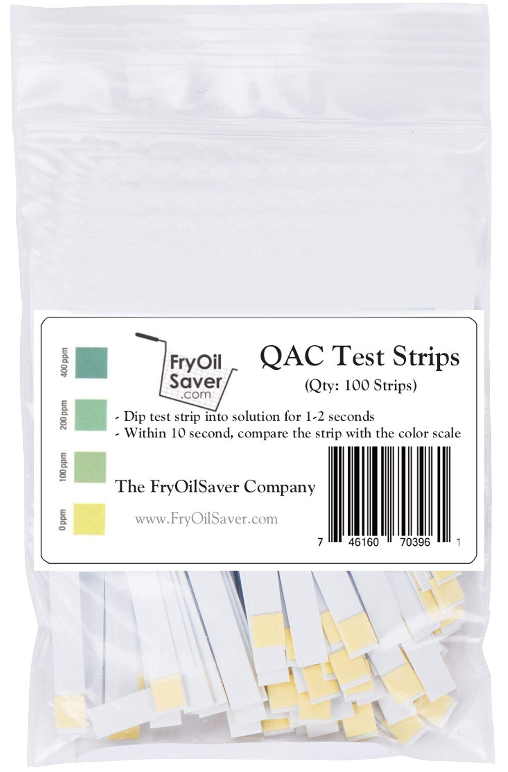 FryOilSaver Co, QAC Test Strips, Restaurant Quaternary Ammonium Sanitizer Test Strips, 0-400 ppm, Multi Quat Strips for Food Service, Quaternary Ammonia Sanitizer Strips, FMP 142-1363, Pack of 100