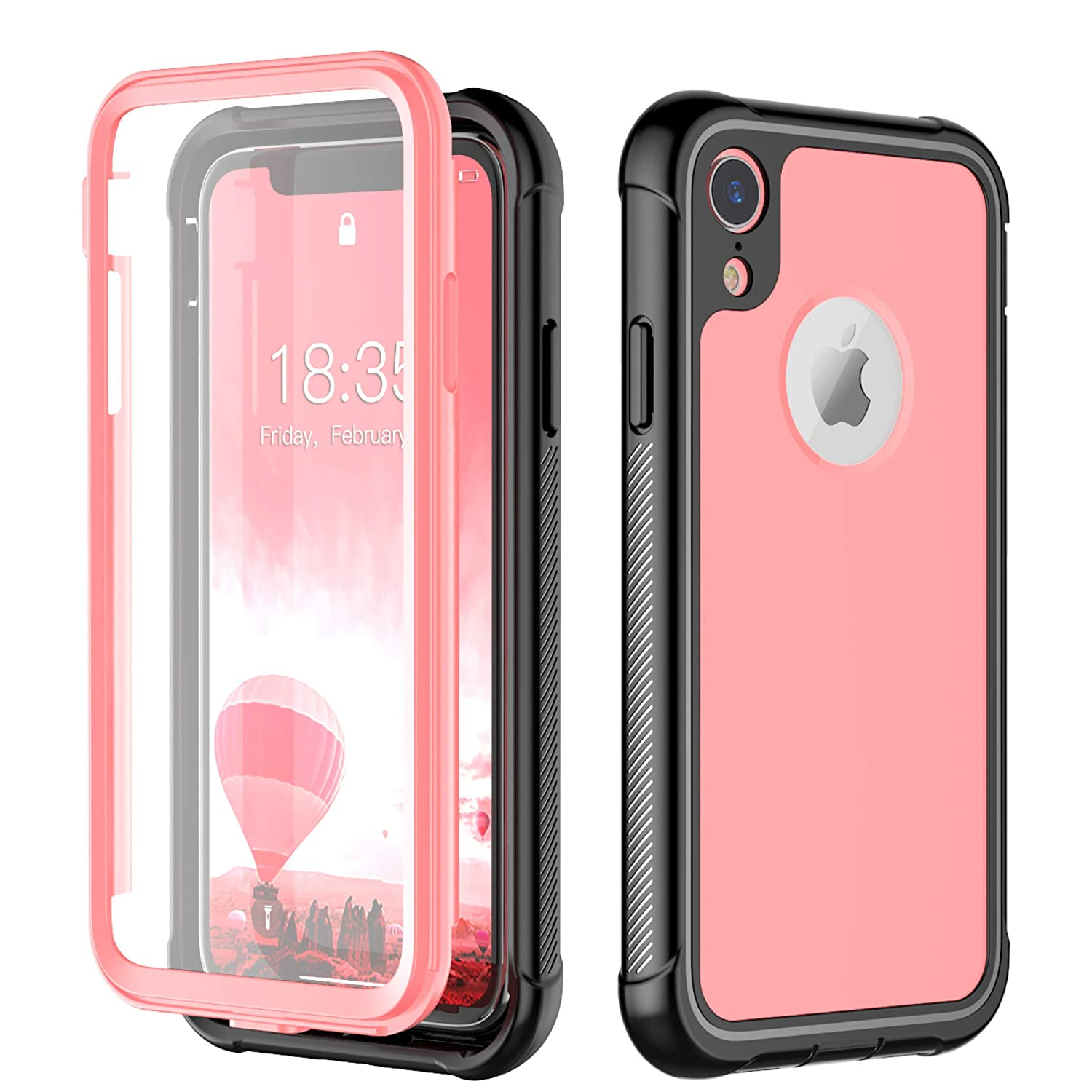 Singdo Built-in Screen Protector Cover 360 Degree Protection Rugged Clear Bumper Case Compatible for iPhone XR, Pink, 6.1