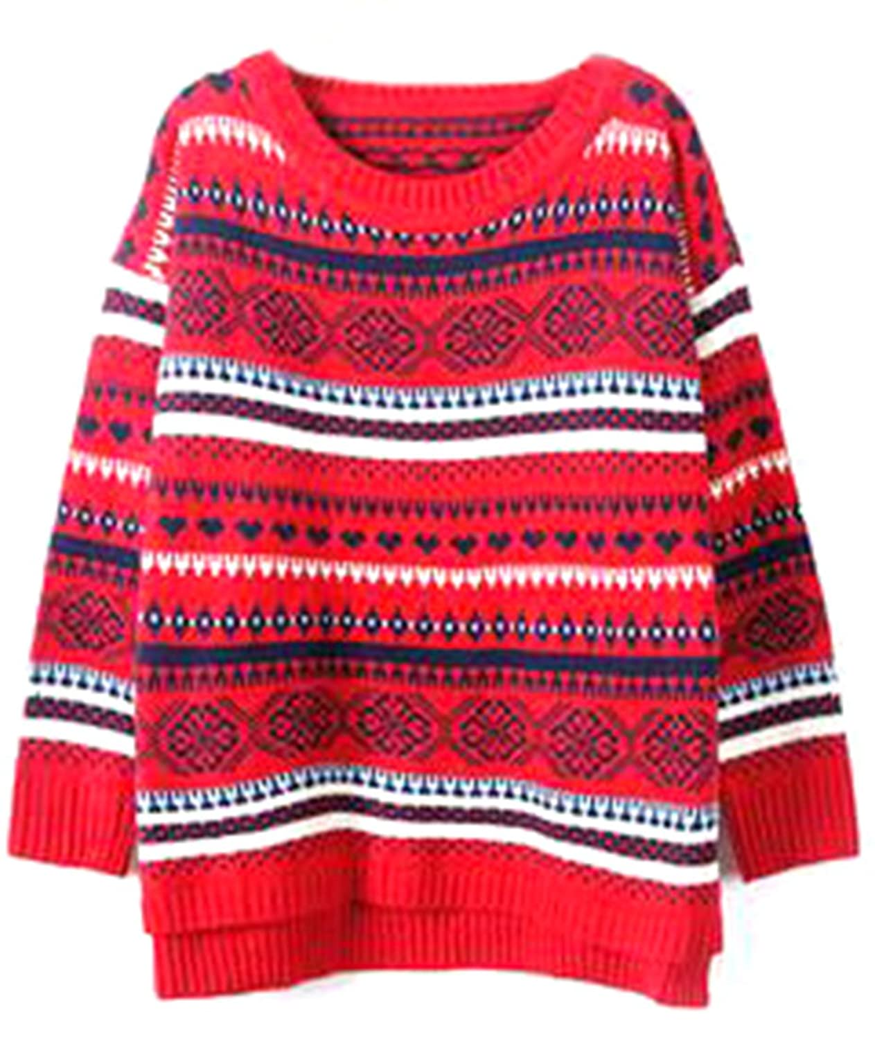 Unko Womens Stylish Ethnic Printed Slit Soft Pullover Sweaters