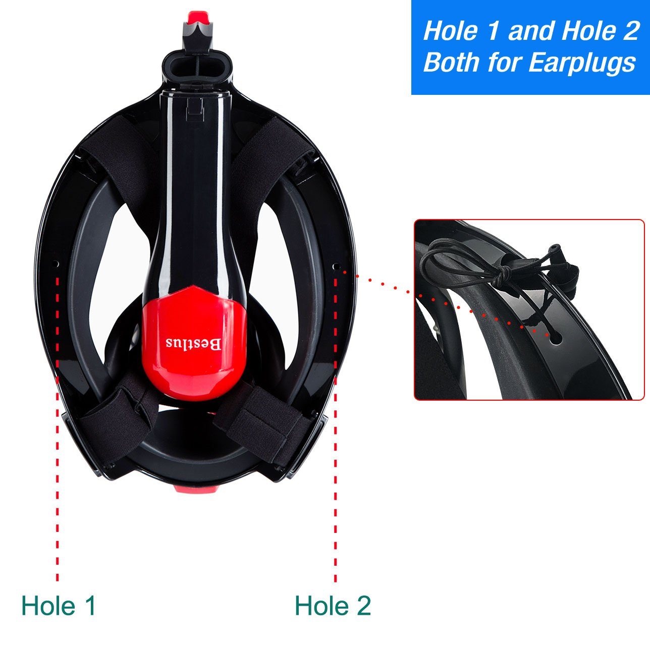 Bestlus Full Face Snorkel Mask Foldable Version 3.0 Panoramic 180/° View for Adults Kids with Anti-Fog Anti-Leak Design