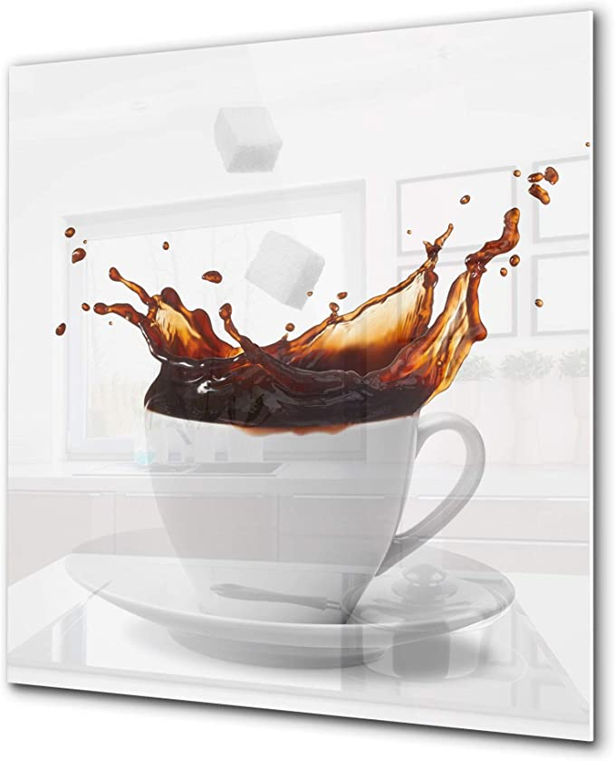 Amazon Com Printed Tempered Glass Wall Art Glass Kitchen Backsplash Bs05a Coffee A Series Coffee Sugar Cubes 1 Appliances