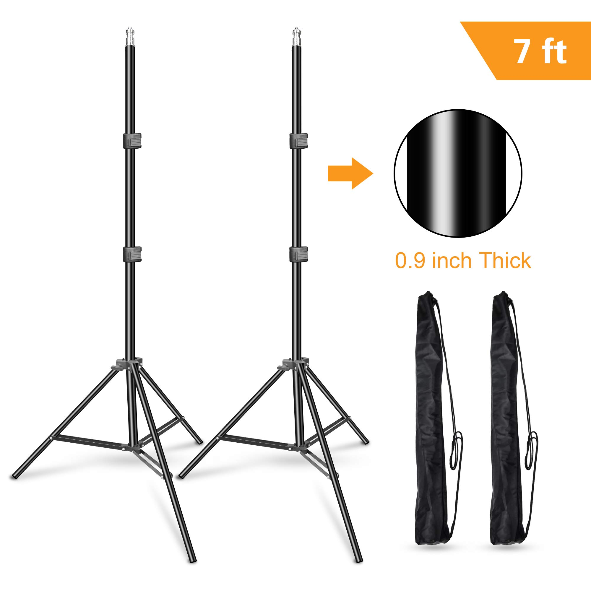 Emart 7 Feet Photography Photo Studio Tripod Light Stands for Softbox, Umbrella, Video Shooting, Reflector, Portable Carry Case Include - 2 Pack by EMART