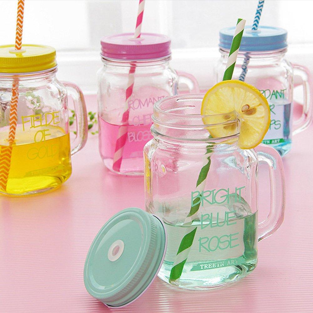 Amazon.com: Kaimao Transparent Mason Jar Glass Drinking Bottle with ...