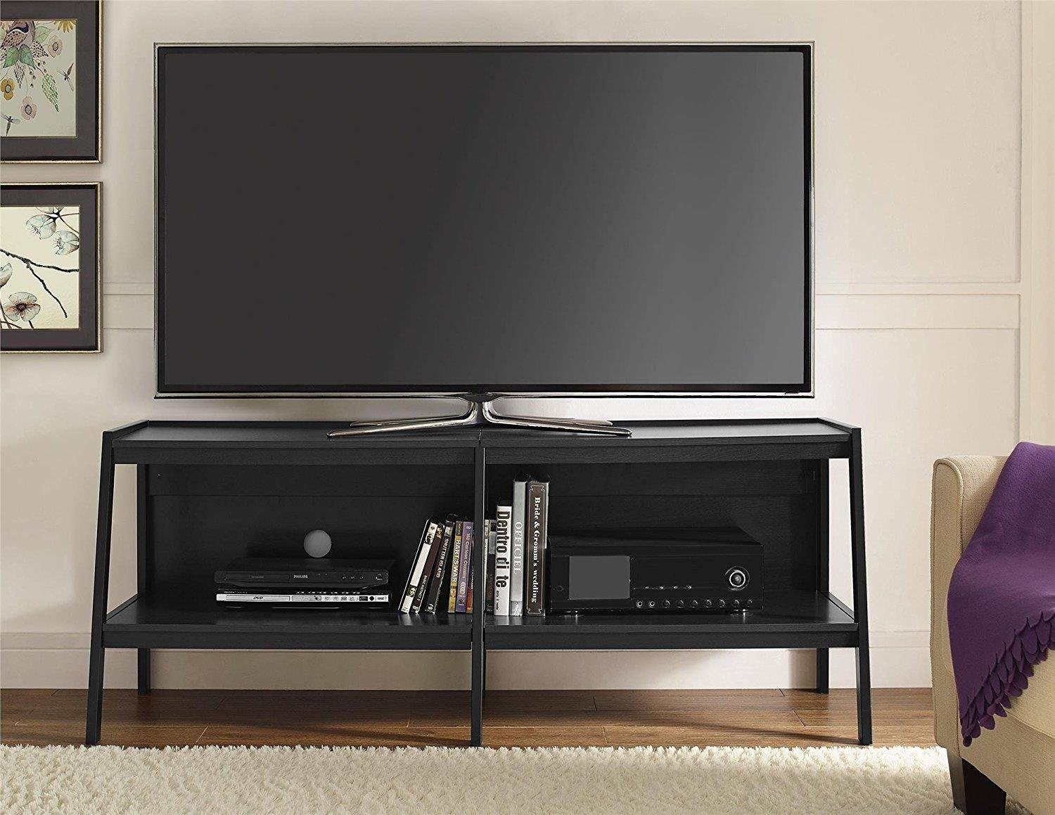 Ameriwood Home Lawrence 60'' Ladder TV Stand, Black by Altra Furniture (Image #2)