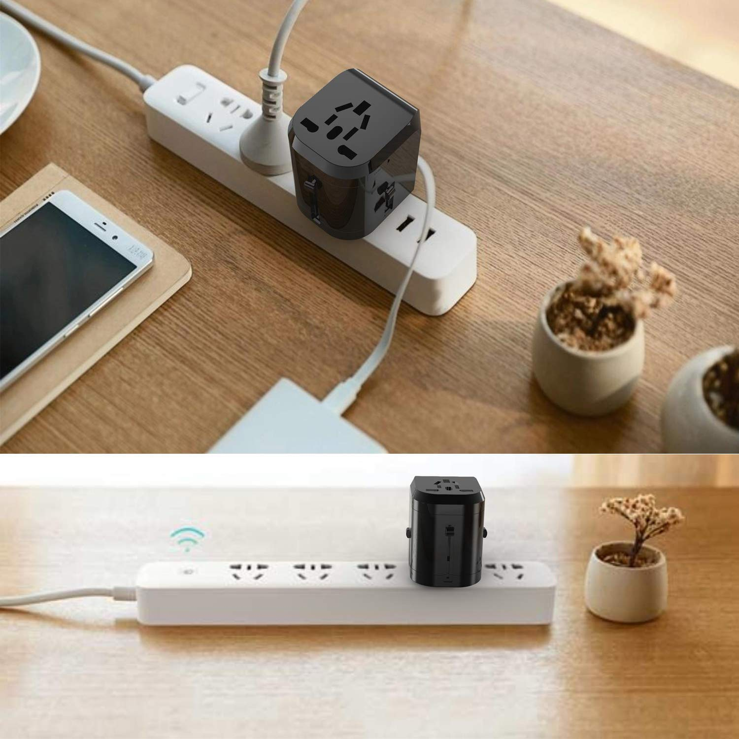 Universal USB Travel Power Adapter-Silanger All In One Wall Charger AC Power Plug Adapter For USA EU UK AUS Cell Phone Laptop Including Quad 3.5A Smart Power USB Charging Port (4X USB) by Silanger (Image #4)