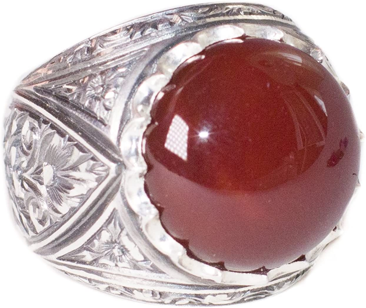 Handmade Ring Agate Stone Free Express Shipping Falcon Jewelry Mens Sterling Silver Ring Steel Pen Crafts