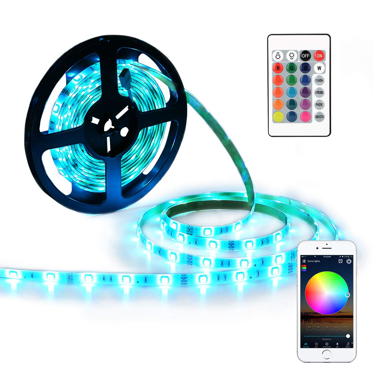 LED Strips Lights YIHONG RGB Strip Lights 5M LED Tape Lights Compatible with Alexa and Google Home 150 5050 SMD Smart WiFi Strip Lights,IR Remote +12V Power Adapter Included | IP65 Waterproof