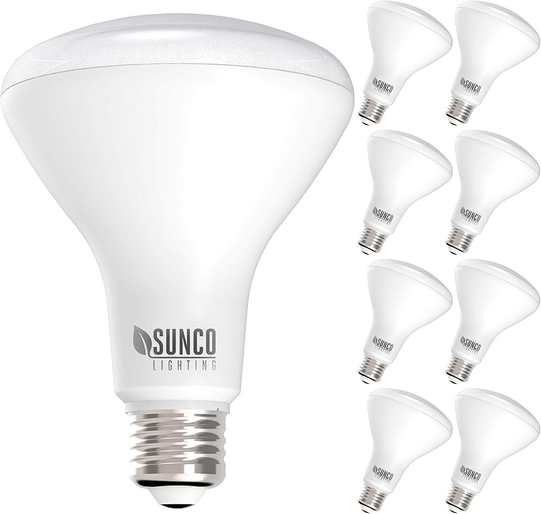 Daylight 2 Pack Floodlights 5000K BR30 Shape TCP L8BR30D1550K2 LED 65 Watt Equivalent Dimmable Light Bulbs 2 Count
