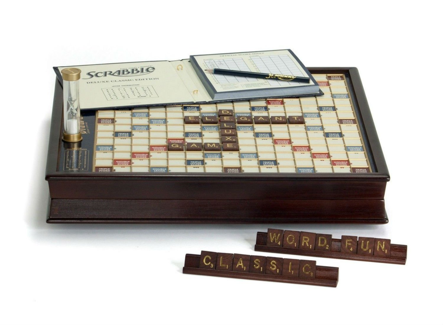 Newest Scrabble Deluxe Wooden Edition with Rotating Game Board