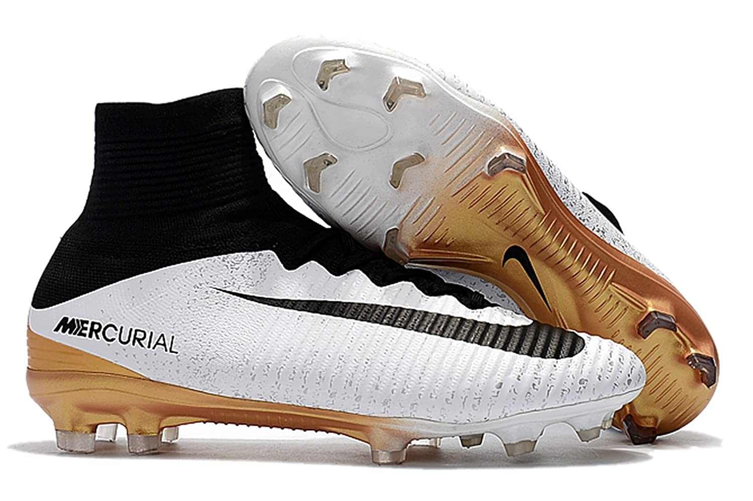 01cd8c7fa95 ... Cleats Platinum Black Ghost Green Men s High Ankle Soccer Shoes Nike  Mercurial Superfly V FG White Black Gold (US ...
