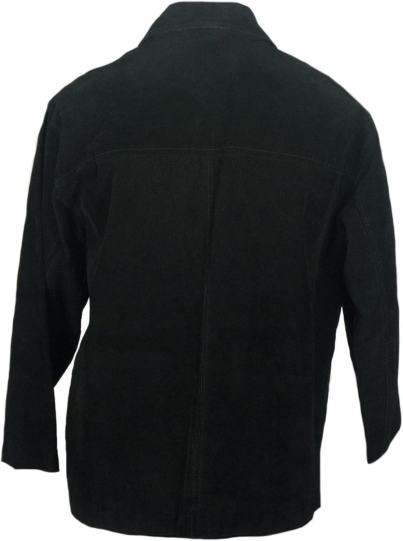Sleekhides Mens Fashion Suede Leather Pure Black Jacket