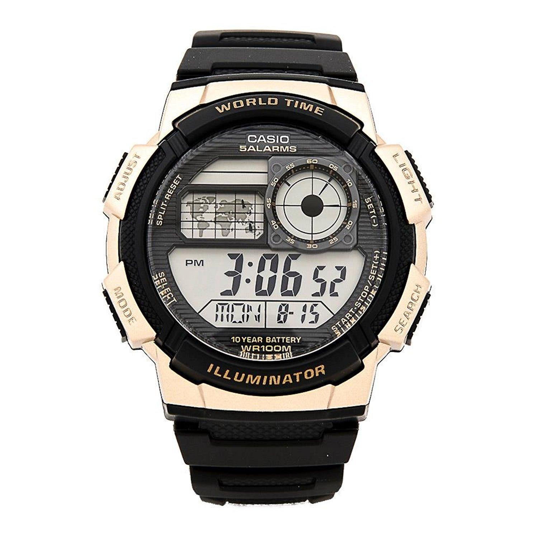 チープカシオ 腕時計AE-1000W-1A3 デジタル ワールドタイム搭載