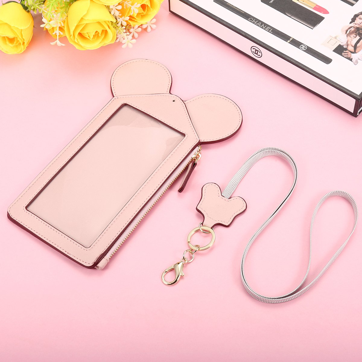Neck Pouch, Charminer Women Cute Animal Shape Lanyard Phone Purse Neck Bag Travel Documents, Card Holder Coin Purse Neck Bag for 4.7/5.5in Phones Light Pink 4.7in by CHARMINER (Image #5)