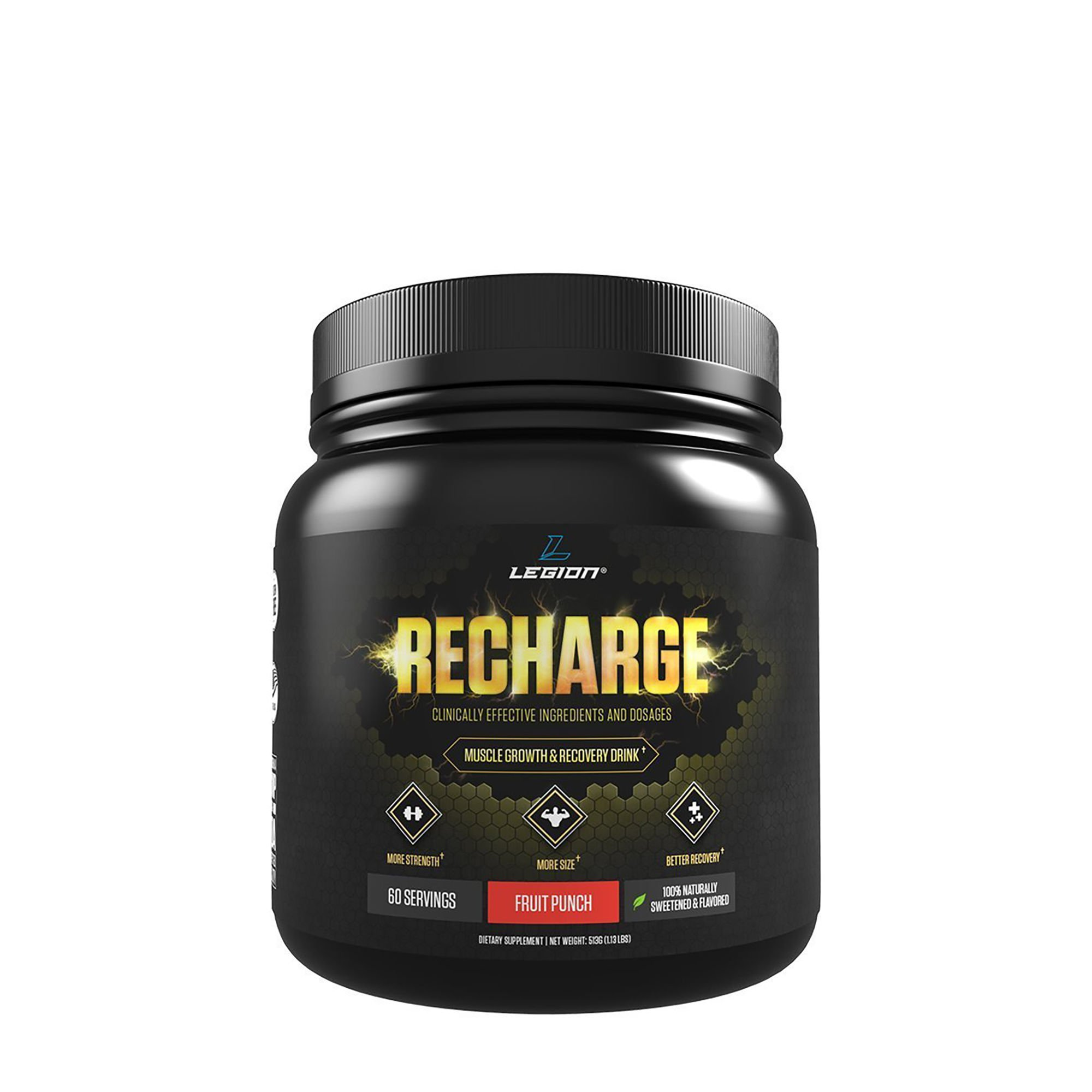 Legion Recharge Post Workout Supplement - All Natural Muscle Builder & Recovery Drink With Creatine Monohydrate. Naturally Sweetened & Flavored, Safe & Healthy. Fruit Punch, 60 Servings