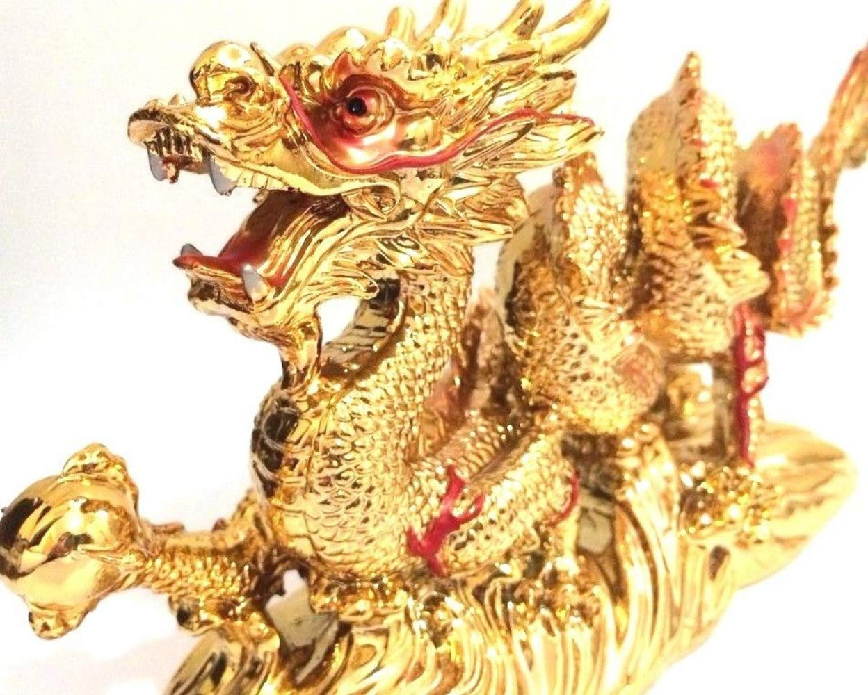 PNPGlobal Dagon Gold Chinese Luck Statue Figurine Feng Shui for Luck