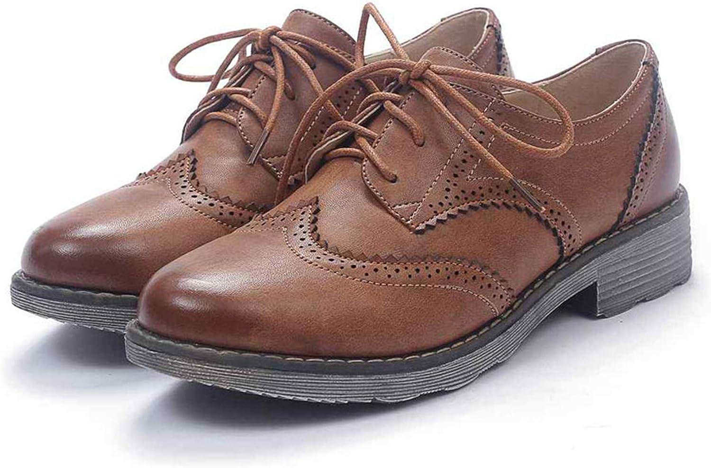 Vintage Women Shoes Oxford Shoes Lace Up Round Toe Flats Shoes Autumn Womens Oxfords