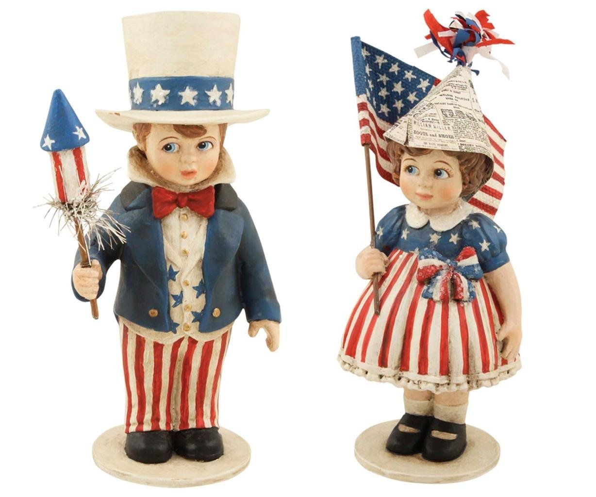Bethany Lowe Yankee Doodle Dandy Collection Patriotic Children Figures Sammy and Betsy