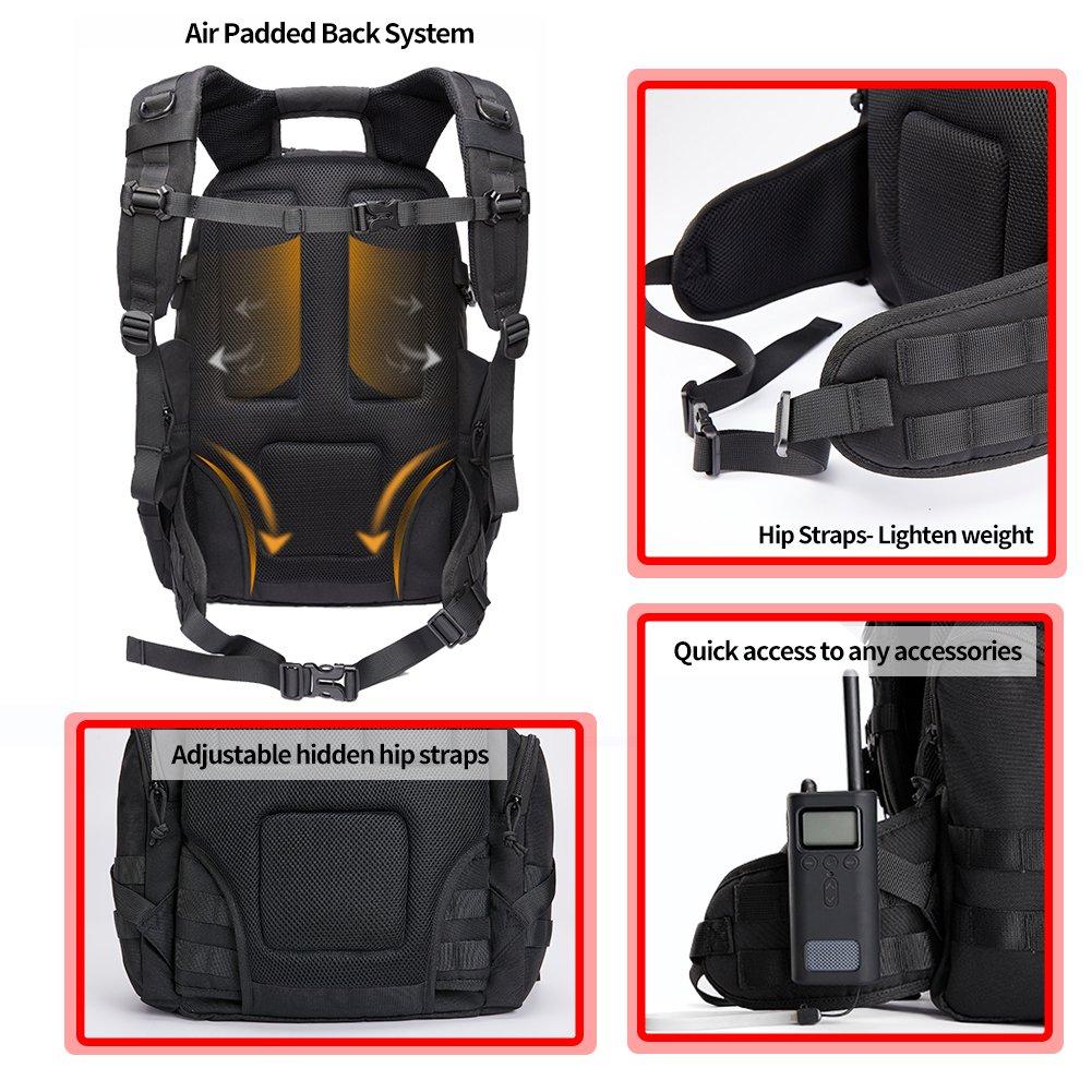 Kalidi Mochila Táctica Militar de 40 litros con Puerto de Carga USB para Senderismo al Aire Libre Camping Trekking, JY01-Black, Negro: Amazon.es: Deportes y ...