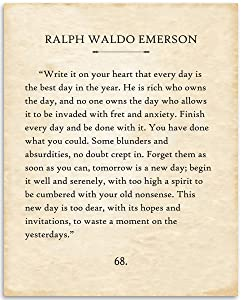 Ralph Waldo Emerson - Write It On Your Heart - 11x14 Unframed Typography Book Page Print - Great Motivational and Inspirational Gift and Decor Under $15