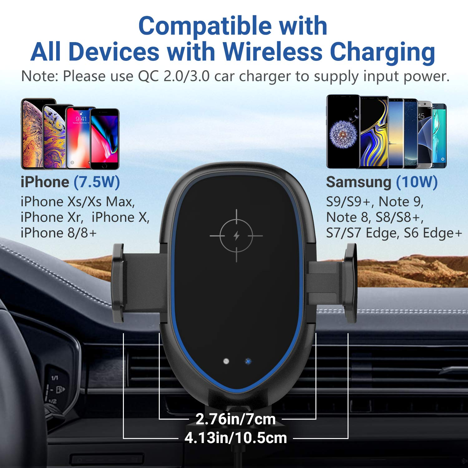 MoKo Infrared Wireless Car Charger,Car Fast Charger Stand Outlet Clamp with Retractable Suction Cup and Fan 10W for Galaxy S10//S10+//S10e 5W for Qi-Enabled Devices,Black 4351556133 7.5W for iPhone XS//XS Max//XR