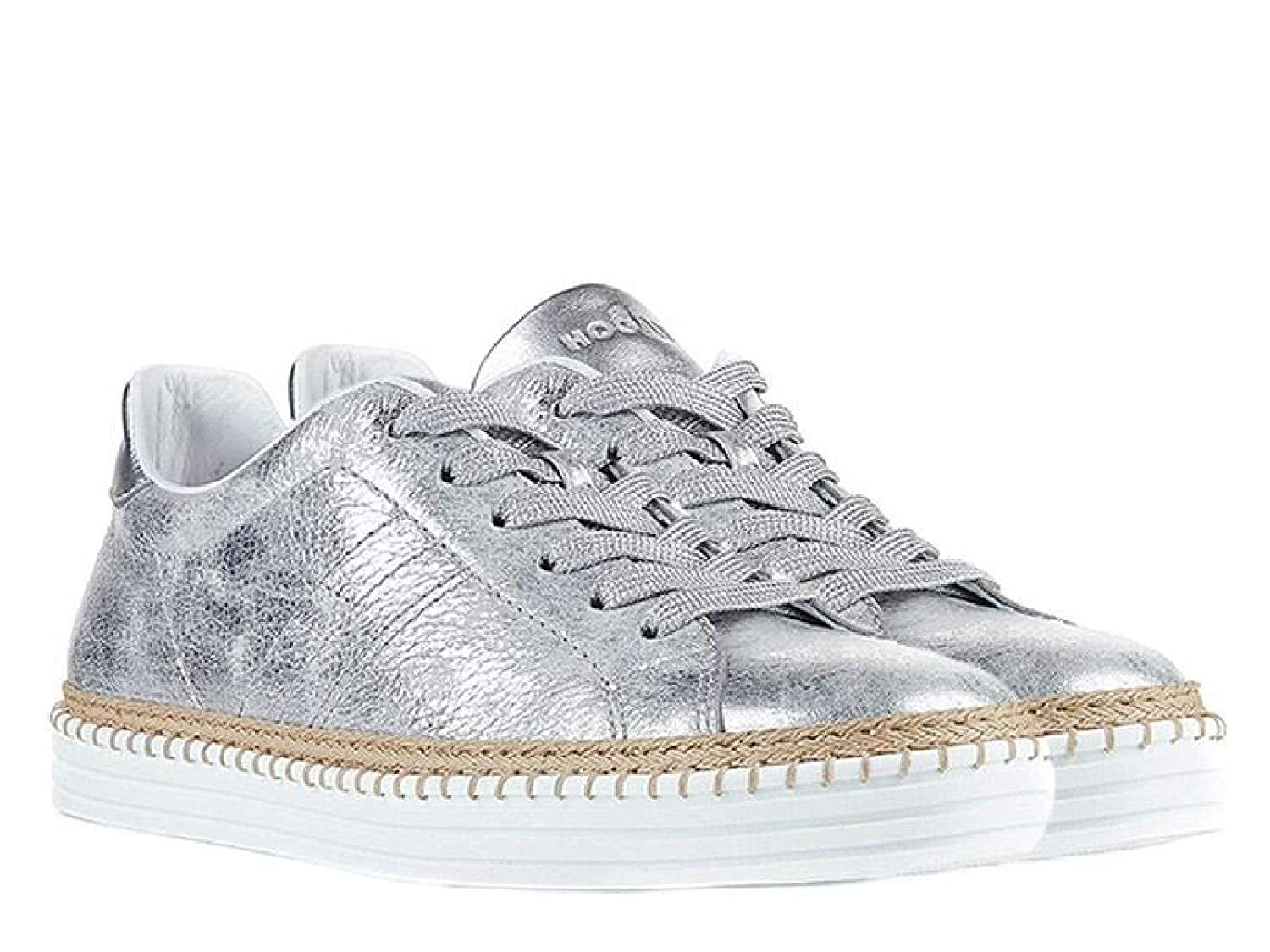 - Hogan Women's HXW2600AD70IQYB200 Silver Leather Sneakers