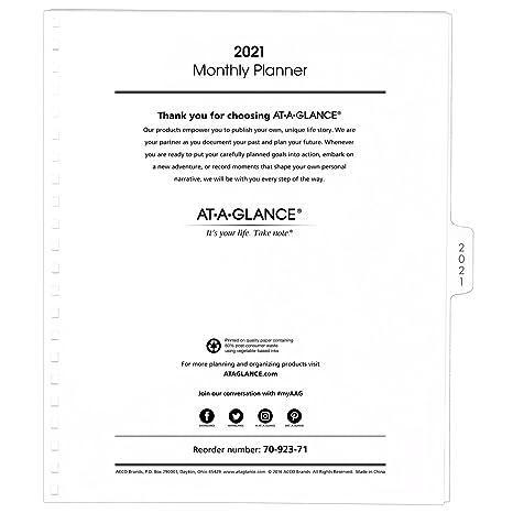 Amazon.com: AT-A-GLANCE repuesto planificador mensual, enero ...