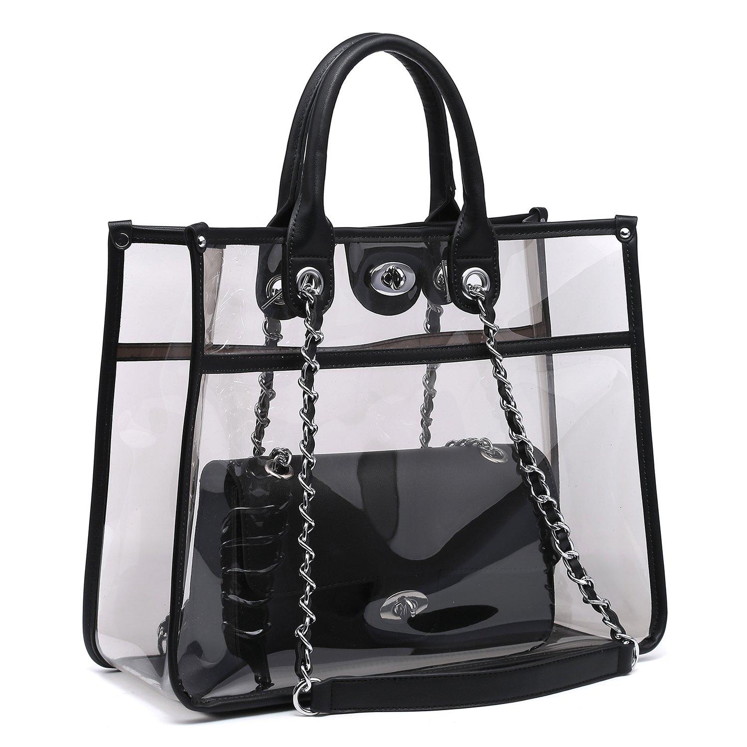 Large Clear PVC Top Handle Shoulder Bag Tote Handbag 2 Piece Set Leather Crossbody Purse Black