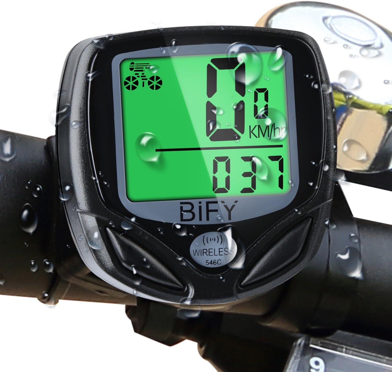 Schwarz Gibot Fahrradcomputer Kabellos Drahtloser Wasserdichter Radcomputer mit Stoppuhr,16 Funktionen Geschwindigkeit Fahrradtacho,Radcomputer Tacho,Tachometer,Hintergrundbeleuchtung LCD Display .