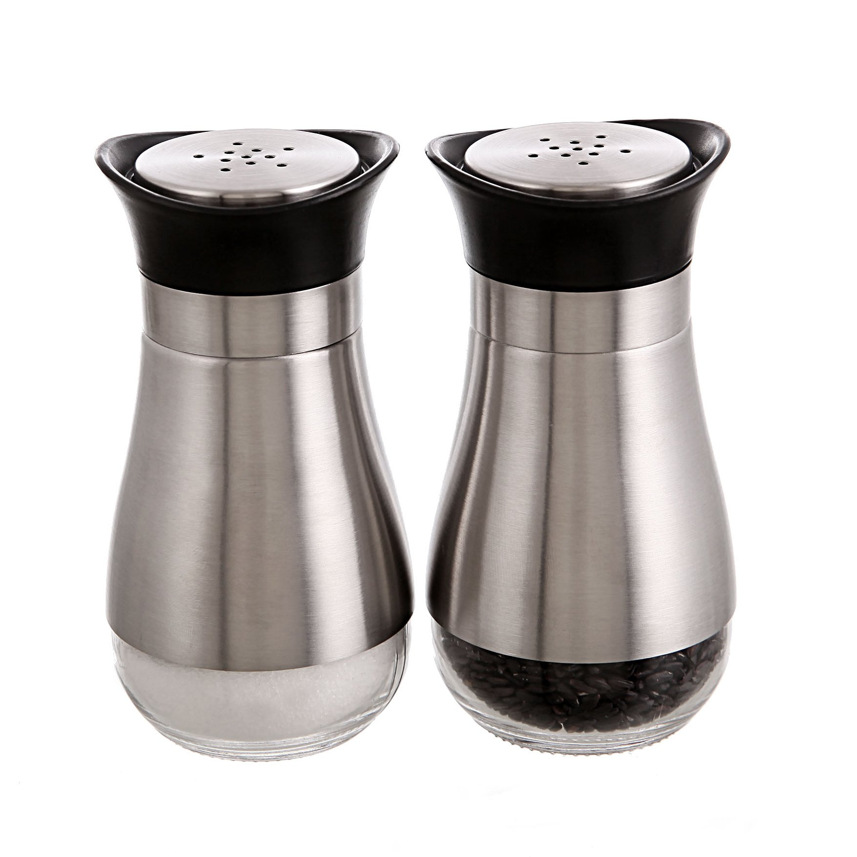 SILUKER Salt and Pepper Shakers Set - Elegant Stainless Steel with Glass Bottom - Salt Shaker - Silver(Set of 2)