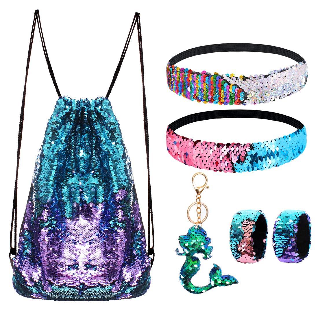 Mermaid Reversible Sequin Drawstring Backpack/Bag Blue/Purple for Kids Girls by GADGETS ENTREPOT